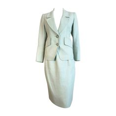 1990's YVES SAINT LAURENT YSL Linen skirt suit | From a collection of rare vintage suits, outfits and ensembles at https://www.1stdibs.com/fashion/clothing/suits-outfits-ensembles/
