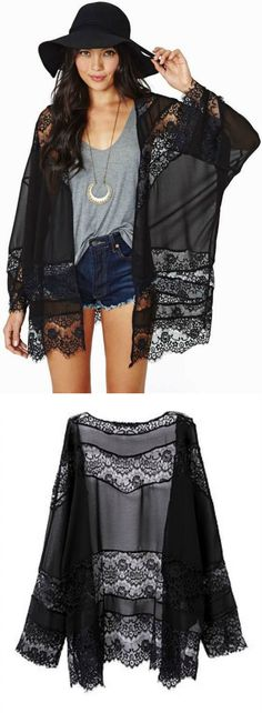 $35.00 - A Floral Lace Cardigan in black. This Cardigan exhibit brilliant design with unique floral pattern. ❤️ boho chic :: gypsy style :: hippie chic :: boho style :: outfit ideas :: boho clothing :: free spirit :: fashion trend :: embroidered :: flowers :: floral :: lace :: summer :: fabulous :: love :: street style :: fashion style :: boho style :: bohemian :: modern vintage :: ethnic tribal :: embroidery dress :: cardigans :: jacket :: skirt :: Coachella :: festival outfit