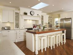 Country kitchen ideas french new home design island columns wood houzz cabinets butcher block with stools dark dining room sets white coffee table Country Kitchen Cabinets, Rustic Country Kitchens, Country Kitchen Designs, Rustic Kitchen, New Kitchen, Kitchen Decor, Kitchen Ideas, Kitchen Island, Wooden Kitchen
