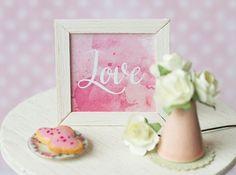 Miniature framed Valentine print in 1:6 scale Barbie by Katjuss