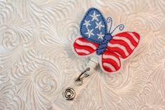 USA butterfly - professional nursing badge holder - retractable - badge reel - name badge holder - felt  badge reel - badge pull - nurse