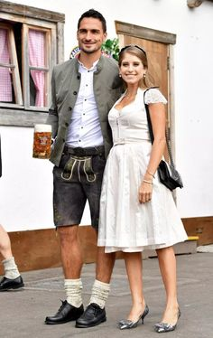 Bayern Munich stars including Manuel Neuer and Mats Hummels neck steins with stunning Wags at Oktoberfest Lederhosen, Octoberfest Party, Serge Gnabry, Football Names, Mats Hummels, Thomas Muller, Robert Lewandowski, James Rodriguez, Poses For Photos