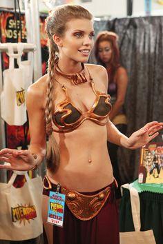Gorgeous Annalynne McCord in Slave Princess Leia cosplay costume