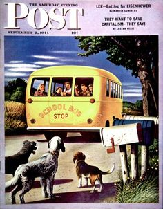 Saturday Evening Post Copyright 1944 School Bus Dohanos - Mad Men Art: The Vintage Advertisement Art Collection Journal Vintage, Saturday Evening Post, Ad Art, Norman Rockwell, Vintage Magazines, Vintage Art, Vintage Images, Vintage Ephemera, Vintage Signs
