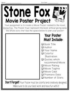 Fox Project: Make a Movie Poster! (Stone Fox Book Report activity) Stone Fox Project: Make a Movie Poster! Stone Fox Book Report activityStone Fox Project: Make a Movie Poster! Book Report Projects, Reading Projects, Book Projects, Teaching Reading, Student Teaching, Reading Activities, Learning, Reading Workshop, Reading Centers