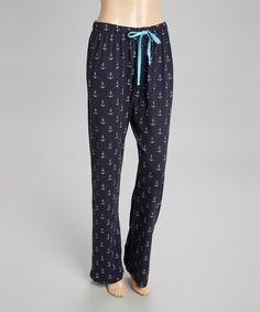 Navy & White Anchor Drawstring Pajama Pants by Bottoms Out Gal #zulily #zulilyfinds