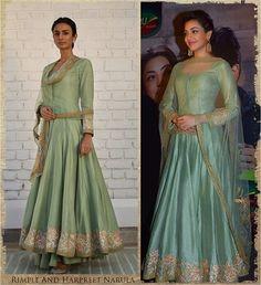 @kajalaggarwalofficial in a pistachio Kalidar. Styled by @triparnam #RimpleAndHarpreetNarula #RnH #Indian #Wear #Stunning #Pistachio #Kalidar #Hyderabad