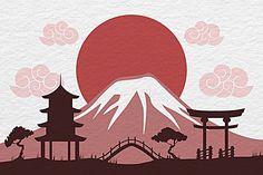 Japan Illustration, Disney Kawaii, Mont Fuji, Frida Art, Japan Architecture, Easy Canvas Art, Japan Art, Japan Japan, Japanese Patterns