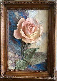 Купить или заказать Картина объемная 'Роза' в интернет-магазине на Ярмарке Мастеров. Картина в раме выполнена в технике скульптурной живописи декоративной штукатуркой. Рама украшена орнаментом вручную. Основа - ДВП в деревянной раме. Картина покрыта матовым лаком. Снимки сделаны при разном освещении. С обратной стороны имеется подвес для фиксации на стену. Может стать прекрасным дополнением интерьера комнаты, кухни, прихожей или оригинальным подарком.