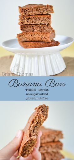 Healthy Banana Bars...they're THM:E, low fat, no sugar added, and gluten/nut free (they could easily be made dairy free as well)