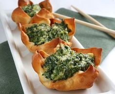 Ricotta spinach cups (could use pre-cooked fresh lasagne sheets instead of wonton wrappers)