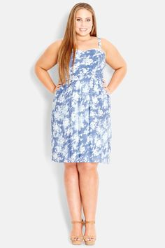 City Chic Print Chambray Sundress (Plus Size) by City Chic on @nordstrom_rack