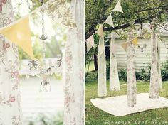 To quickly create an elegant picnic or party area in your backyard, hang banners and vintage curtains from sturdy tree branches.  Get the tutorial at Thoughts From Alice.
