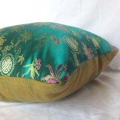 Chinese Imperial Jade Sateen 18x18 pillow cover by MissusTroutAtHome on Etsy Pillow Inserts, Pillow Covers, Chinese Butterfly, Imperial Jade, Traditional Fabric, Retro Fabric, Throw Cushions, Mustard Yellow, Bean Bag Chair