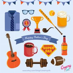 Happy Father's Day Digital Vector Clip art / Fathers Day Clipart Design Illustration / Dad, Gift, Present, Men, Beer, Wine, Baseball, Card by CreamyInk on Etsy https://www.etsy.com/uk/listing/290777863/happy-fathers-day-digital-vector-clip