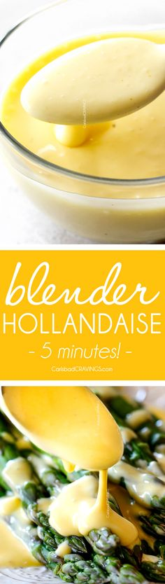 5 Minute Blender Hollandaise Sauce that's luxuriously creamy, buttery, lemony and SO easy! You will never go back to Classic Hollandaise Sauce again!