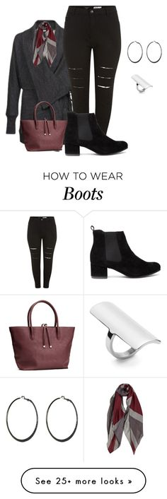 """plus size fall/winter boot and sweater style"" by kristie-payne on Polyvore featuring H&M and By Malene Birger"
