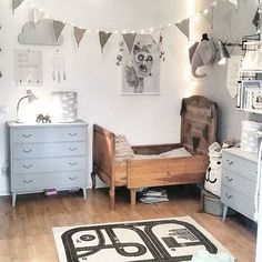 Comfortable and cute kids room with carved wooden bed (mix kids)