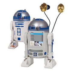 Star Wars R2-D2 MP4 Player. This is the coolest music player ever. The Star Wars R2-D2 MP4 Player comes from a galaxy far far away, so that you can listen to music anywhere with some droid assistance. I love how they made C-3PO the earbuds.    It will store about 500 songs on its 2GB storage space and it's mostly meant to look cool and impress geeks while listening to the Star Wars soundtrack. Mission accomplished. I have to get one.