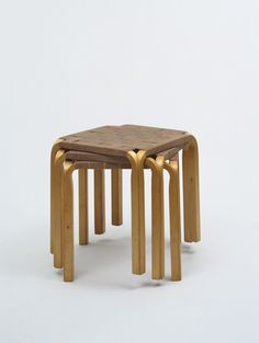 "Stools (model Y61)  Alvar Aalto (Finnish, 1898–1976)    1946-47. Wood and cotton webbing, Each: 16 7/8 x 16 1/8 x 16 1/8"" (42.9 x 41 x 41 cm). Manufactured by Oy Huonekalu-ja Rakennustyötehdas Ab, Turku, Finland. Gift of John C. Waddell"