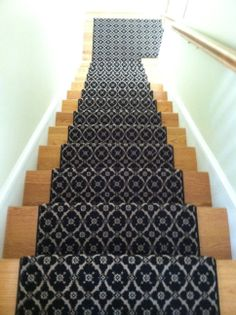 This Is A Woven Wool Carpet Remnant Fabricated Into A Custom Stair Runner.  Www.