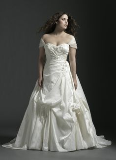 Here's a plus size wedding gown with 2 looks you have the choice of strapless or off the shoulder cap sleeves Sincerity Bridals #4525