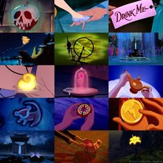 """Poisoned apple, glass slipper, potion, pixie dust, spinning wheel, Excalibur, shell necklace, the rose, the lamp, """"Simmmmbaaaaa,"""" compass, medallion, hair comb, voodoo idol, golden flower."""