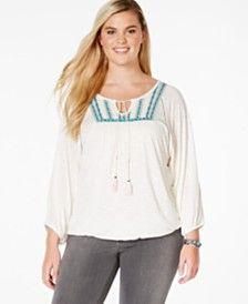 American Rag Plus Size Embroidered Blouson Peasant Top, Only at Macy's