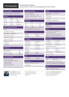 Bootstrap Cheat Sheet from masonjo. Bootstrap 3
