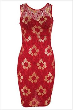 ELove Womens Hot Sale Golden Embroidered Red Floral DressL -- You can get additional details at the image link.