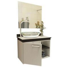 gabinetes para banheiro com cuba cinza com detalhes em preto