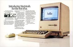 "Apple introduced the Macintosh computer in 1984 with ads that showed the computer with the word ""Hello"" displayed on its screen. Description from nytimes.com. I searched for this on bing.com/images"
