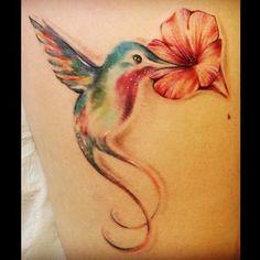 hummingbird flower I love watercolor tattoos