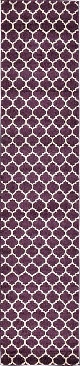 Features:  -Machine made.  -Material: Polypropylene.  -Easy to clean.  -Stain resistant.  -Does not shed.  -Trellis collection.  Technique: -Machine woven.  Primary Color: -Purple.  Material: -Synthet