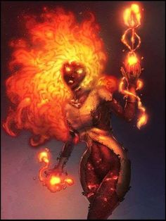 Apollymi's fire magical use in midlevel form