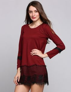 Red Lace Hem Long Sleeve Crew Collar Loose Patchwork Casual Dress