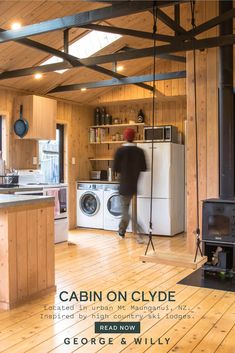 Built-in 1991, the cabin was once non-descript, and pretty uninspiring. Take a look at this DIY urban home remodel by the self-taught signage and letter board designers behind George & Willy. Home Interior, Interior Design, Kitchen Room Design, Cladding, Lodges, Home Remodeling, Modern Design, House Design, Urban