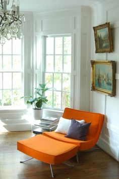 In love with the orange chair and ottoman. Also the obvious exclusion of a small boy tornado's aftermath is very appealing! (Image via hidden in france & from the right bank)