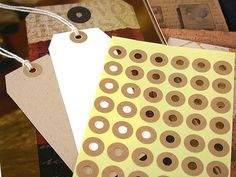 Hang Tag Donut Hole Kraft Ring Label Stickers Reinforcements 5 Sheet (240 total). $4.50, via Etsy.