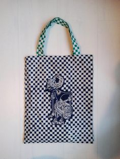 Indonesian tote shopping bag with blue wayang by DUAbags on Etsy