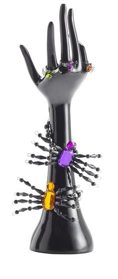 Pier 1 Hand Jewelry Stand with Spider Rings and Assorted Spider Jeweled Bracelets