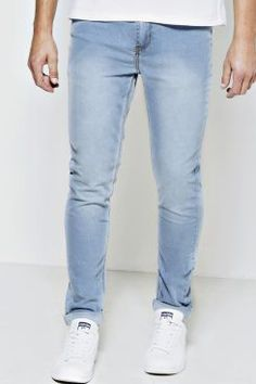 Stone Washed Stretch Skinny Fit Jeans at boohoo.com