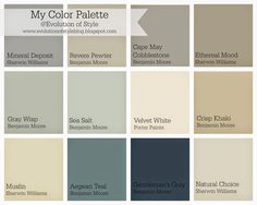 Whole House Color Palette - Evolution of Style Hello! I'm thinking with the changes that I've made here in terms of paint colors, that I should share an updated color palette with all of you. Because we all love organized color palettes, right? Interior Paint Colors, Paint Colors For Home, House Colors, Interior Painting, Paint Colours, Teal Paint, Paint Colors With White Trim, House Color Schemes Interior, Pastel Colours