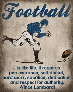 Vintage Football Art Print - Kids Basketball Room Decor - Vince Lombardi Quote