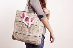 Shoulder bag with cute piggy in front pocket, pig, piglet