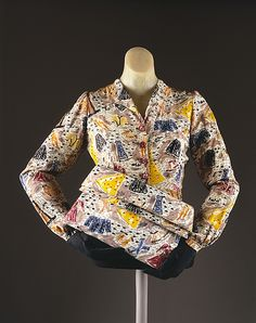 Blouse and purse set by Elsa Schiaparelli with a print representing wartime clothing rationing, 1940-45.