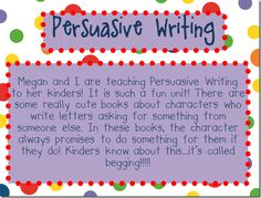 persuasive writing - great break down of what persuasive writing is for little ones. will be adapting it for my 2nd grade sp ed kiddies