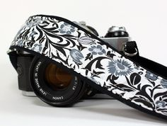 Floral dSLR Camera Strap, Black, White, Grey,SLR. $26.00, via Etsy.