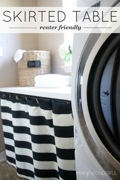 Crazy Wonderful: skirted laundry room table... could do in front of utility tub!