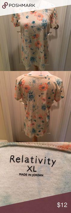 Relativity Cotton Short Sleeved Tee Shirt EUC! Relativity Short Sleeved cotton tee shirt in a flower print.  EUC. Nonsmoking house. Relativity Tops Tees - Short Sleeve
